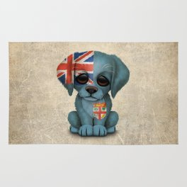 Cute Puppy Dog with flag of Fiji Rug