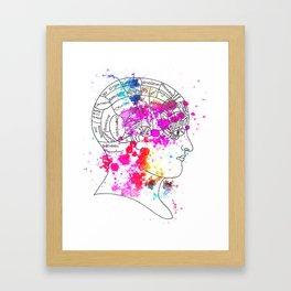 colourful phrenology head Framed Art Print