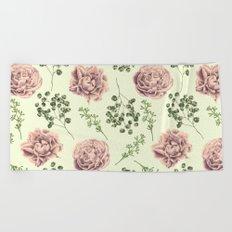 Secret Garden Pink and Green Beach Towel
