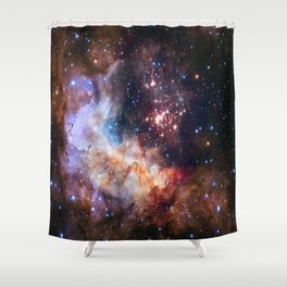 picture of star by hubble: celestial firework Shower Curtain
