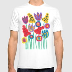 raw flower garden with tulips White Mens Fitted Tee MEDIUM