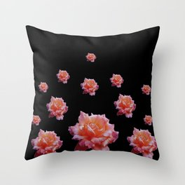 ROMANTIC ANTIQUE PINK ROSES ON BLACK Throw Pillow