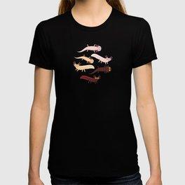 Cute orange pink brown Axolotl Cartoon character (Mexican salamander, Ambystoma mexicanum) T-shirt