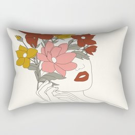 Colorful Thoughts Minimal Line Art Woman with Magnolia Rectangular Pillow