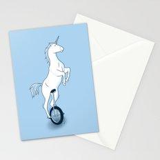 Unicorn on a unicycle - blue Stationery Cards