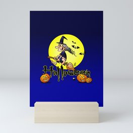 Halloween, witch on a broom, bats and pumpkins Mini Art Print