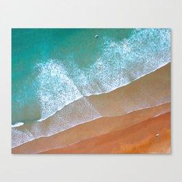 Aerial surf day, Turquoise sea, ocean, coast, Atlantic, Portugal, beach, waves, sea, prints, project Canvas Print