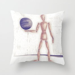 Man With A Globe Throw Pillow