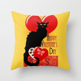 Le Chat Noir Valentine Throw Pillow