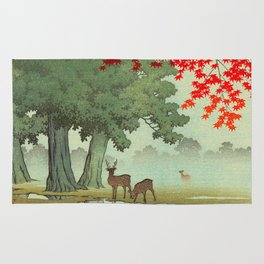 Vintage Japanese Woodblock Print Nara Park Deers Green Trees Red Japanese Maple Tree Rug