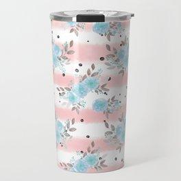 Pink teal watercolor modern stripes floral dots Travel Mug