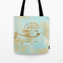 Beach - Mermaid - Mermaid Vibes - Gold glitter lettering on teal glittering background Tote Bag