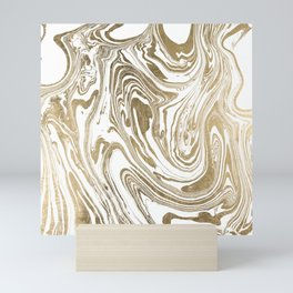 Stylish white faux gold foil elegant marble Mini Art Print