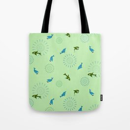 Green Orca and Dolphin Tote Bag