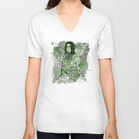 snape V-neck T-shirts featuring Portrait of a Potions Master by Karen Hallion Illustrations