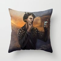 smaug Throw Pillows featuring Smaug by Juli Grey
