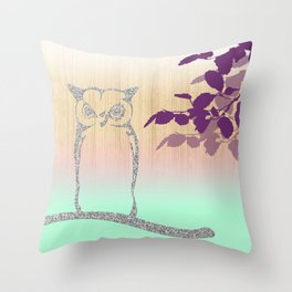 Silver Glitter Owl Tree & Wooden Background Throw Pillow