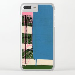 Pink Line Blue Clear iPhone Case