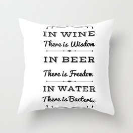 Beer Wine Water Wisdom Freedom Party Gifts Throw Pillow