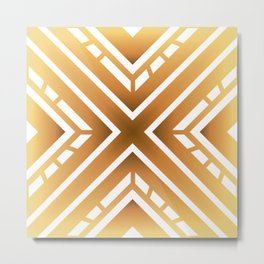 Abstract Golden Colored Industrial X Design Metal Print