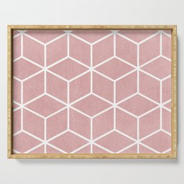 Blush Pink and White - Geometric Textured Cube Design Serving Tray