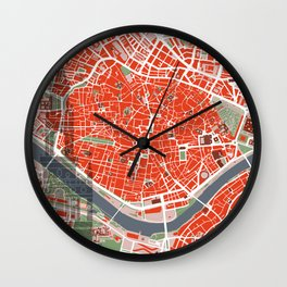 Seville city map classic Wall Clock
