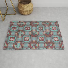 Aqua Turquoise Coral Red Brown Mosaic Pattern Rug