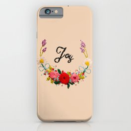 Hand Embroidery Flowers Wreath - Joy iPhone Case