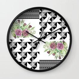 Rustic patchwork 5 Wall Clock