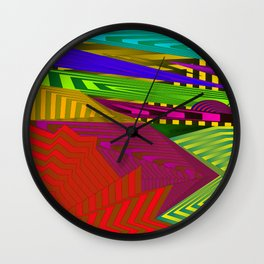 Fancy neon landscap with stylised red mountains, sea and Sun. Wall Clock