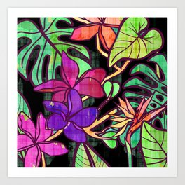 Tropical leaves and flowers, jungle print Art Print