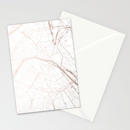 Paris France Minimal Street Map - Rose Gold Glitter Stationery Cards