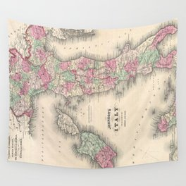Vintage Map of Italy (1864) Wall Tapestry