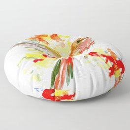 Hummingbird and Flame Colored Flowers Floor Pillow