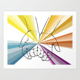 Rainbo Hands Art Print