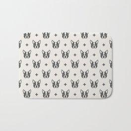 Boston Terrier Dog Face Pattern Bath Mat