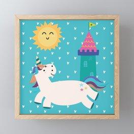 Rainbow Unicorn Kingdom Castle Pattern Framed Mini Art Print