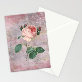 Vintage Rose - on pink grunge background  - Roses and flowers Stationery Cards