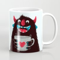 demon Mugs featuring Demon with a cup of coffee (contrast) by Lime