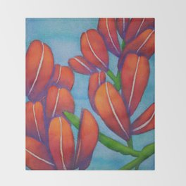 Botanical Painting with Reds and Blues Throw Blanket