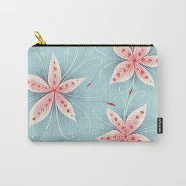 Beautiful Abstract Flowers In Red And White Carry-All Pouch