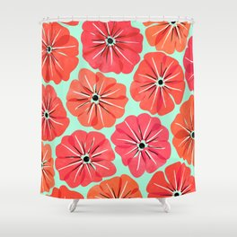 Poppy Floral Pattern Shower Curtain