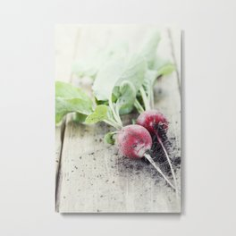 Radishes with leaves on wooden background Metal Print