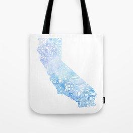 Typographic California - Blue Watercolor map Tote Bag