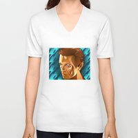david bowie V-neck T-shirts featuring Bowie  by Beth Gatza