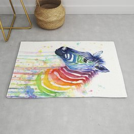 Rainbow Zebra Colorful Animals Whimsical Art Rug