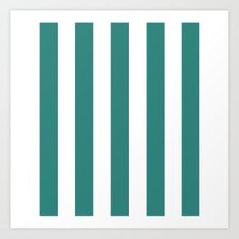 Celadon green - solid color - white vertical lines pattern Art Print