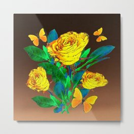 BROWN SHADES YELLOW SPRING ROSES & BUTTERFLIES Metal Print