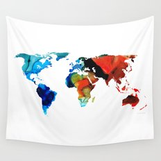 Map of The World 3 -Colorful Abstract Art Wall Tapestry