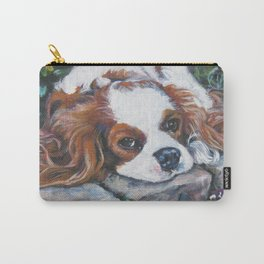 Beautiful Blenheim Cavalier King Charles Spaniel Dog Art Painting by LA.Shepard Carry-All Pouch